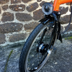 Brompton Orange BLACK edition - shimano dynamo front wheel and light
