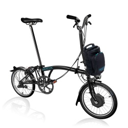Brompton Electric H2L folding bike - Black - stock photo