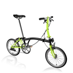 Brompton S2E folding bike - Black / Lime Green - 2019 model