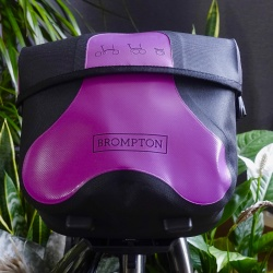 Brompton Mini O bag - Black / Berry Crush - with plants - best colour view