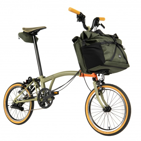 Brompton Explore M6E folding bike - special edition - front side view, with luggage on bike