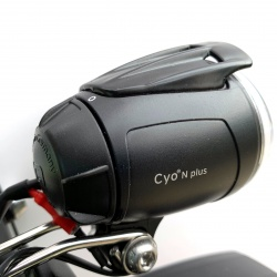 Busch + Muller Lumotec IQ Cyo N Plus 60 Lux dynamo light - side view - with Brompton light bracket