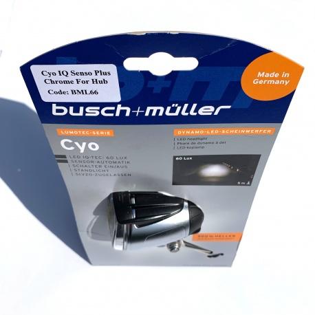 Busch + Muller Cyo IQ Senso Plus 60 Lux dynamo light - chrome - in packaging