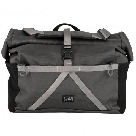 Brompton Borough Roll Top Bag - large size - dark grey colour - stock photo
