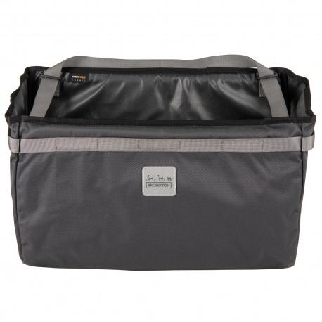 Brompton Borough Basket Bag - front view - dark grey colour - stock photo