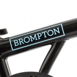 Brompton main frame decal BLUE - for Brompton Electric - on black bike