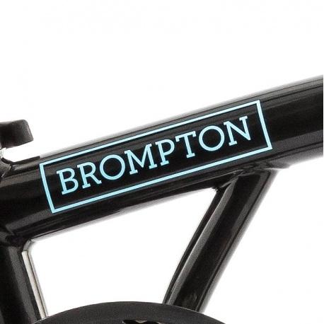Brompton main frame decal BLUE - for Brompton Electric - on black bike