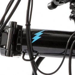 Brompton front frame bolt logo - BLUE - for Brompton Electric - on black bike