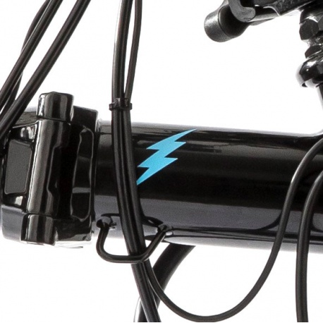 Brompton front frame bolt logo - BLUE - for Brompton Electric - on black bike