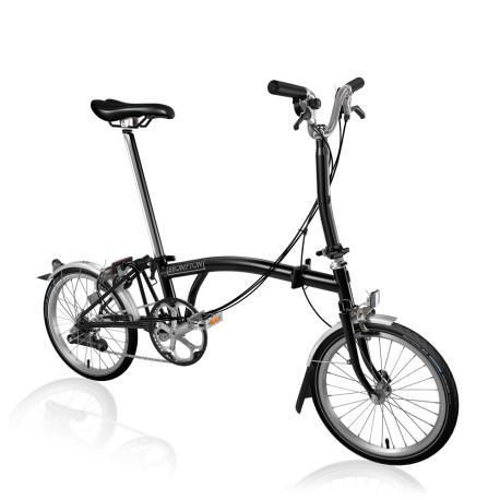 Brompton M6L folding bike - Black - stock photo