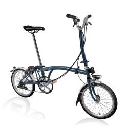 Brompton H6L folding bike - Tempest Blue - stock generated photo