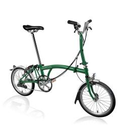 Brompton M6L folding bike - Racing Green - 2020 model - stock photo