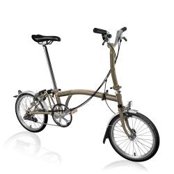 Brompton M6L folding bike - Raw Lacquer - stock photo