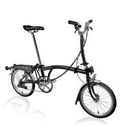 Brompton M6R folding bike - Black - 2020 model - stock image