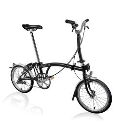 Brompton Black M3L folding bike - 2020 model - stock image