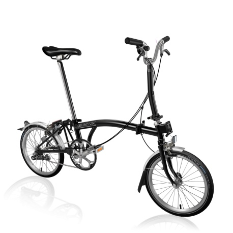 Brompton Black M3L folding bike - 2020 model - stock image