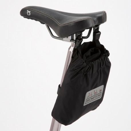 Brompton cover in saddle bag on saddle