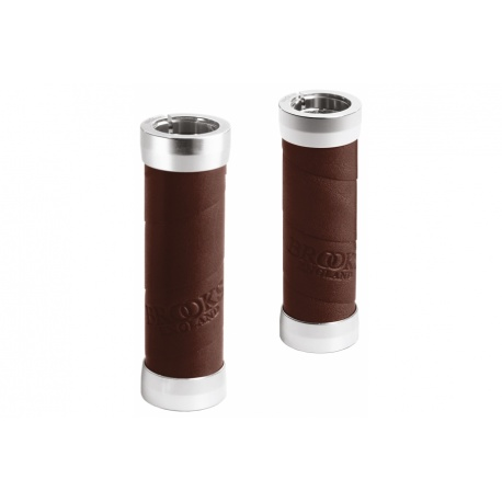 Brooks slender leather grips - Brown (100mm) - stock photo