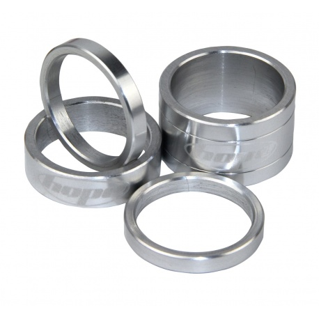 Hope headset spacers - Silver - 5mm, 10mm and 20mm - silver - stock photo