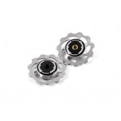 Hope 11 tooth Jockey Wheels (pair) - Silver - stock photo
