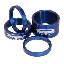 Hope headset spacers - Blue - 5mm, 10mm and 20mm - stock photo