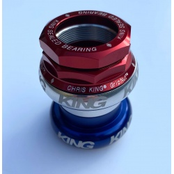 Chris King Brompton compatible headset - Patriot (red, white and silver) colours with bold logo