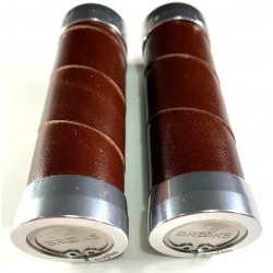 Brooks slender leather grips - Brown (100mm) - end view