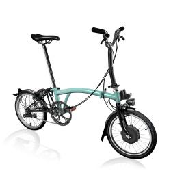 Brompton Electric M6L folding bike - Turkish Green - stock photo