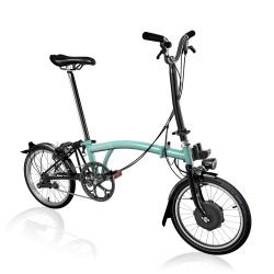Brompton Electric M2L folding bike - Turkish Green / Black - stock photo