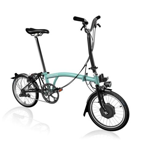 Brompton Electric H2L folding bike - Turkish Green - stock photo