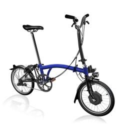 Brompton Electric H2L folding bike - Bolt Blue - stock photo