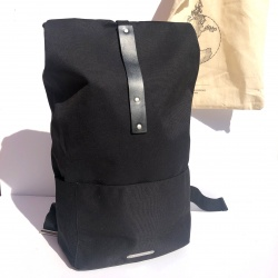 Brooks Dalston Knapsack in Black - Medium - Front on with tote bag