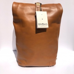 Brooks Pickwick Leather Backpack in Congnac - 26L - Front view and zip pocket