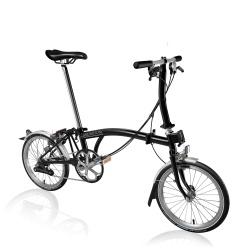 Brompton S6L folding bike - Black - stock photo